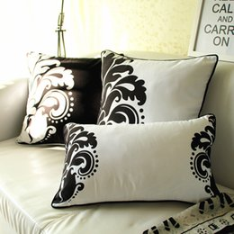 Wholesale Blue Pattern Cushion - chinese style cushion cover floral pattern almofadas printed vintage home decor sofa couch cojines black and white pillowcase