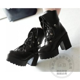 Wholesale Cheap Chunky Heel Platform - Cosplay Lolita Women Casual Footwear Cheap Platform Shoes Punk Bandage Thick Heel Ankle Short Cylinder Boots Creepers Hi Street
