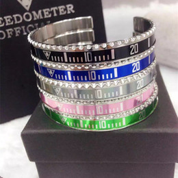 Wholesale Silver Bangle Cuff Bracelets Wholesale - Wholesale-Speedometer stainless steel silver cuff decals marine bangle bracelet