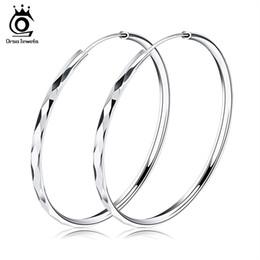 Wholesale 925 silver huggie earrings - Orsa Jewelry Fashion 925 Sterling Silver Earring,50mm Hoop Earring Style,Trendy Design Wholesale Fashion Earring Accessories OE09