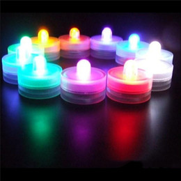 Wholesale Candle Wedding - Underwater Flickering Flicker Flameless LED Tealight Tea Waterproof Candles Light Colorful Battery Operated Wedding Birthday 3002036
