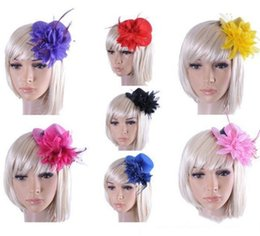 Wholesale Wedding Forehead Accessories - New Bridal Forehead Piece Wedding Wedding Hats Headdress Bride Hair Accessories Flower Headpiece Prom Fascinator Feather Headpieces Headband