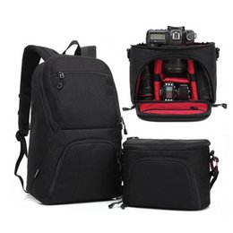 Wholesale Cameras Shoulders Carry - Black Large Capacity 2 in 1 Photo Camera Shoulders Padded Travel Waterproof Backpack Carrying Bag Video Tripod Laptop Case Bags