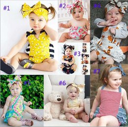 Wholesale Wholesale Lace Rompers - INS flower fox Rompers Girl honeybee watermelon Cotton Lace print romper Big Bows headbands 2pcs sets baby clothes