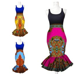 Wholesale Casual Skirt Designs For Women - Summer Women Clothing New Designs African Dashiki Clothes for Women African Print Skirts Midi Skirt Trumpet Mermaid Print Skirts