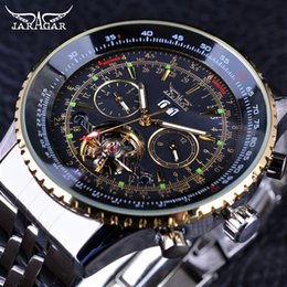 Wholesale New Jaragar Watches - Jaragar 2017 Flying Series Golden Bezel Scale Dial Design Stainless Steel Calendar Mens Watch Top Brand Luxury Automatic Mechanical Watch