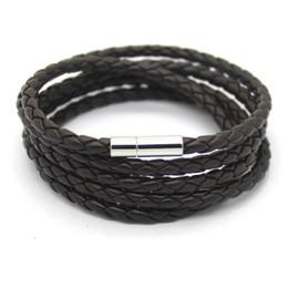Wholesale Multilayer Braid Leather Bracelets Handmade - BEIJIA Handmade braided 93cm PU Leather Bracelet Multilayer Men Black Leather Bracelets For Women BestFriend Gift