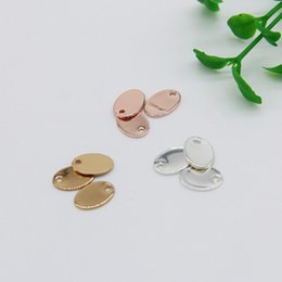 Wholesale Silver Bracelets Blanks - Free Shipping 10pcs lot Fashion Exquisite Copper Flat Oval Shape Blank Stamping Tag Pendants Sets for Bracelet Earring Charms Size 10*7mm