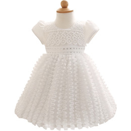 Wholesale First Diamonds - Wholesale- First Years Baptism Newborn Dresses Clothing For Wedding Party White Diamond Ruffles Infant Clothes Bow tutu Princess Vestido