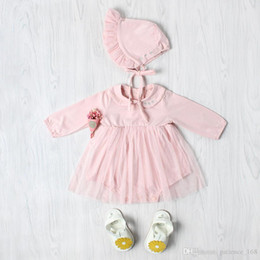 Wholesale Baby Mesh Hat - INS new arrivals baby kids romper Doll Collar long sleeve and girl kids high quality cotton bright pink mesh romper with hat free shipping