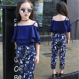 Wholesale Teenage Tutus - Summer Girls Clothing Sets Baby Teenage Kids Ruffles Off Shoulder Short Sleeve Shirt+Floral Print Long Pant 2Pc Suit