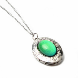 Wholesale Change Slide - mood necklace women jewelry Magic temperature changes the color of the gem pendant stainless steel O chain necklace factory wholesale