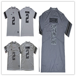 Wholesale Quality Charcoal - 2018 new Ohio State Buckeyes Men's # 2 J-K Dobbins White Charcoal gray american football jerseys Excellent quality cheap wholesale