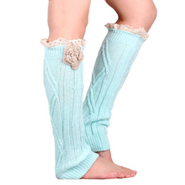 Wholesale Womens Boot Cuffs - Wholesale- Retail Fashion Women Leg Warmers Flower Boot Cover Cuffs Womens Accessory Long leg socks Drop shipping