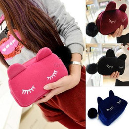 cute korean travel bag Promo Codes - by ems or dhl 100pcs Sale Beauty Cute Cat Cosmetic Makeup sets Bag Case Organizer Zipper Handbag Coin Purse Travel