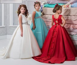 Wholesale Pictures Beautiful Black Girls - Crystals Arabic 2017 Flower Girl Dresses Satin Ball Gown Child Communion Gowns Crystals Bow Beautiful Flower Girl Wedding Dress Custom Made