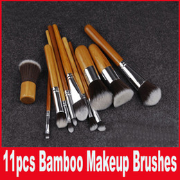 Wholesale Makeup Toiletries - 11PCS Cosmetic Brush set Bamboo Handle Synthetic Makeup Brush Kits makeup brushes make up toiletries brush tools In Stock Hot