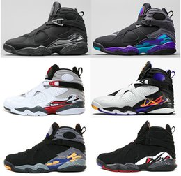 Wholesale Purple Athletic Shoes - 2018 high quality 8 VIII men basketball shoes Aqua black purple Chrome Playoffs red 3 Three Peat 2013 RELEASE 8s Athletic sports sneakers