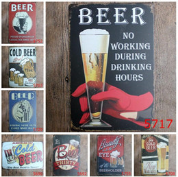 Wholesale Taps Plating Alloys - 2017 fashion 20*30cm cold beer here on tap poster tin sign Coffee Shop Bar Restaurant Wall Art decoration Bar Metal Paintings