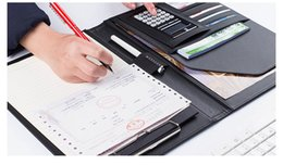 Caso de memorando on-line-Business Notebook Multifunções com Dinheiro / Bill Cases PU Couro Padfolio com A4 Prancheta Memo Pad Fichário Organizador Do Escritório