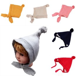 Wholesale Hair Brush Baby - Baby Boys Girls Hats Winter Hair Ball Warm Ear Protection Solid Cartoon Brushed Thicken Knitted Hats