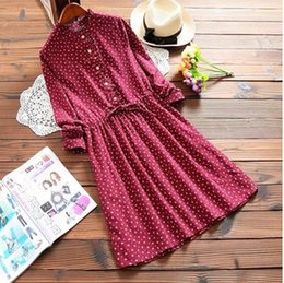 Wholesale Navy Dress Polka Dots Girls - 2017 New Spring Mori Girl Mini Women Dress Ruffled Neck Floral Print Full Sleeve String Dress Elegant Navy Blue Wine Red Dresses