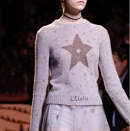 Wholesale Computer Points - Free Shipping 2017 Gray Five-Pointed Stars Print Women's Sweaters Fashion Woolen Pullover Women G831