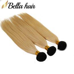Блондинка волосы черные пучки онлайн-3 шт./лот 8A черный корень блондинка человеческих волос ткет прямые Ombre 1b/613 пучки бразильские наращивание волос боди-Вэйв Белла пучки волос