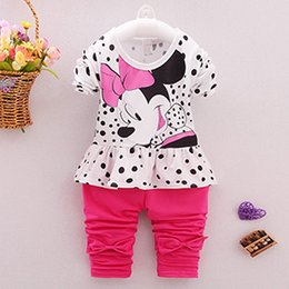 Wholesale Baby Suits Girl Retail - New baby suit 2017 Girls Clothing Sets Baby Kid And Children Clothing(T-Shirt + Legging) Girls Clothes Set Tops Suit Retail