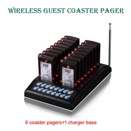 Wholesale restaurant pagers - 6coaster pagers + 1 charger base(wireless keypad),slim bar pager,wireless coaster buzzer pager,waiter buzzer for fast food restaurant