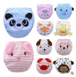 Wholesale Potty Training Cartoons - Cartoon Baby Diapers Reusable Nappies Cloth Washable Diaper Animal Elephant Duck Fox Infants Toddler Baby 3 Layers Cotton Diaper Nappy 654