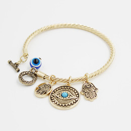 Wholesale turkey evil eye charms bracelet - Turkey Evil Eye Charms Bangle Bracelets Golden Bangles and Charms Toggle-clasps