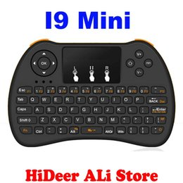 Wholesale Smart Tv Upgrade - [Upgrade Version] I9 Mini 2.4GHz Wireless Keyboard Air Mouse Touchpad Handheld For xBox360 Smart TV Laptop Tablet PC better I8