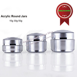 Wholesale Acrylic Powder Containers - 10pcs lot Upscale 15ml Silver Foil Acrylic Plastic Empty Loose Powder Cream Luxury Jars New Cosmetic Packaging Containers PJ6