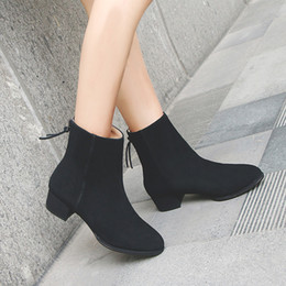 Wholesale Ladies Korean Boots Heels - Ankle boots round toes chunky heel new Korean version of the British college girls ladies shoes