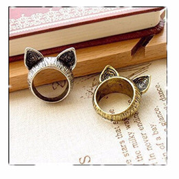Wholesale Cheap Anniversary Rings For Women - G017 One Direction Hot Girl Bijoux 2016 New Vintage Cat Ear Finger Ring For Women Jewelry Wedding Accessories Cheap Wholesale