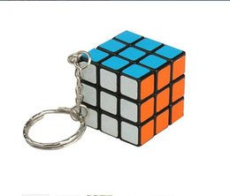 Wholesale Wholesale Fancy Keychain - 3*3*3CM Min Puzzle magic Cube Key keychain Cube phone Pendant Intelligence game toy for Men Women fancy gift