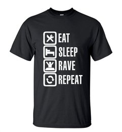Wholesale Wholesale Long Sleeping Shirts - Wholesale- 2016 Summer Style Funny Eat Sleep Rave Repeat T-Shirt Men Casual Short Sleeve Round Neck T shirt Fashion Streetwear Hip Hop Tops