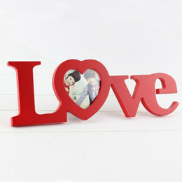 Wholesale Wholesale Photo Frames Favors - Romantic Love Letter Heart Design Wooden Photo Frame Picture Support Office Home Bedroom Decor Bridal Wedding Gift Favors ZA3175