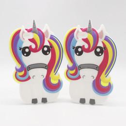 Wholesale Iphone Rubber Cartoon Cases - 3D Cartoon Unicorn Silicon Case for iphone6 iphone 4S 5 5S SE 6 6S 7 7S Plus 6Plus 6SPlus 7Plus Cute Rainbow Horse Rubber Cover Phone Cases