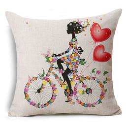 Wholesale Love Sofa Chair - Romantic Love Flower Cushion Cover Sofa Chair Waist Cotton Linen Pillow Cover Colorful Pillowcase Home Decor