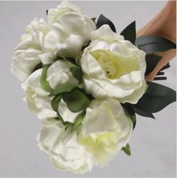 Wholesale Pc Bud - 6 pcs lot High Quality Real Touch PU Peony Flower Buds Bouquet Bridal Holding Flower Home Living Decor Ornament Free Shipping