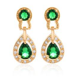 Orecchini cubiti di zirconi verdi online-Bianco / verde / rosso 18K oro giallo placcato cubic zirconia diamante donne squisite orecchini gioielli da sposa per donne / signora