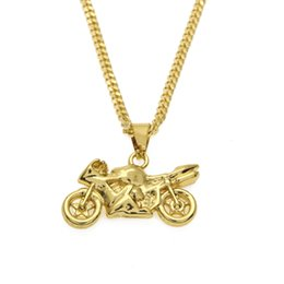 Wholesale Motorcycle Chain Necklace - Men's Super Deal Brand Cool Stainless Steel Silver Gold Plated Mini Motorcycle Pendant Necklace Cuban Chain Necklace Hiphop Jewelry