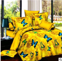 Wholesale Cotton Comforter Sets Queen Sale - Hot sale! 3D painting three-dimensional flowers butterfly pattern bedding sets of four including quilt cover pillow case Sheets