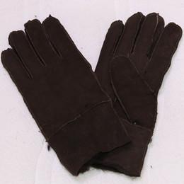 2019 меховые варежки Wholesale- Genuine Leather Gloves Mittens For Men 100% Sheepskin Manual  Thicken Winter Warm Natural Fur Gloves Men's Real Fur Gloves дешево меховые варежки