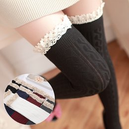 Wholesale Slim Japan - Fashion Japan Frilly Thigh High Socks Kawaii Princess Slimming Long Socks for Women and Girls High Quality Preppy Style Thigh High Socks
