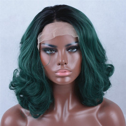 Wholesale Wavy Short Wig - Ombre Black to Green Short Synthetic Lace Front Wigs Natural Wavy Heat Resistant For Black Women MX24