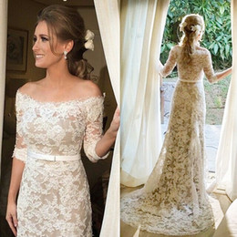 Wholesale outdoor modern - Full Lace Wedding Dresses with Half Sleeves Off Shoulder Champagne Lining A-Line 2017 Custom Made Garden Outdoor Wedding Bridal Gowns Cheap