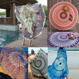 Wholesale Sexy Swimsuit Design - INS 32 Designs Round Donut Pizza Hamburger Towel Beach Cover Ups Sexy Beach Towel Swimsuit Cover Up Yoga Mat 150cm by DHL0601398